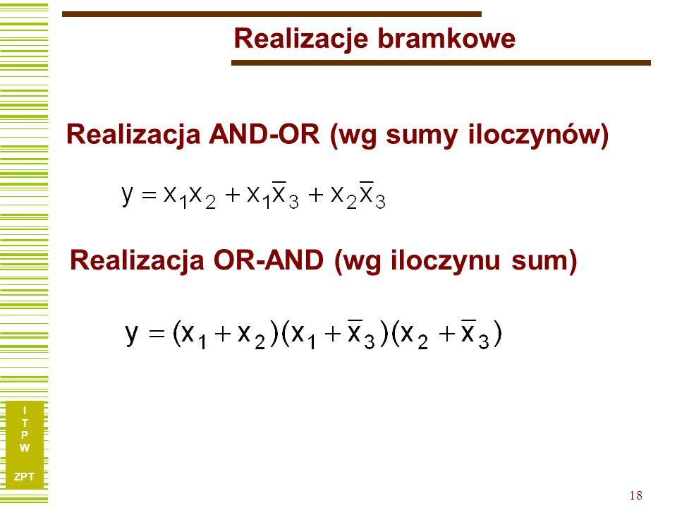 Realizacje bramkowe Realizacja AND-OR (wg sumy iloczynów) Realizacja OR-AND (wg iloczynu sum)