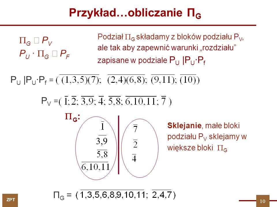 Przykład…obliczanie ПG