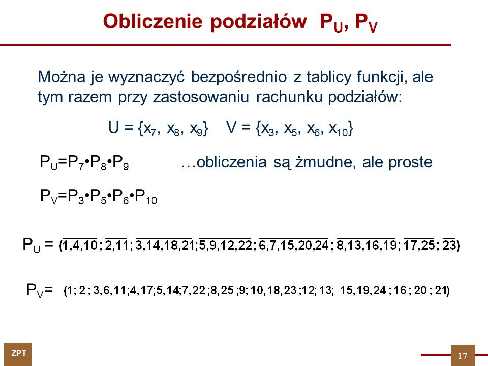 Obliczenie podziałów PU, PV