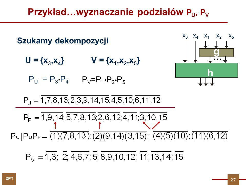 Przykład…wyznaczanie podziałów PU, PV