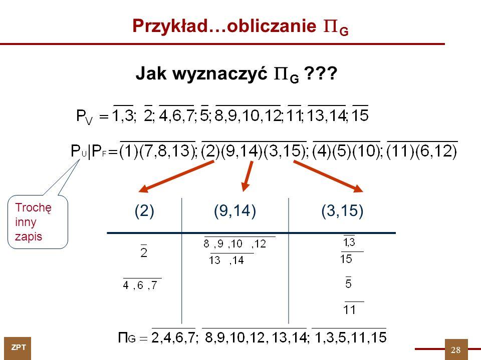Przykład…obliczanie G