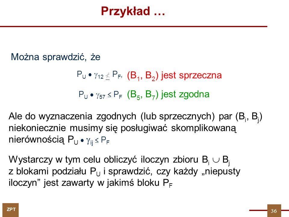 Przykład … Można sprawdzić, że (B1, B2) jest sprzeczna