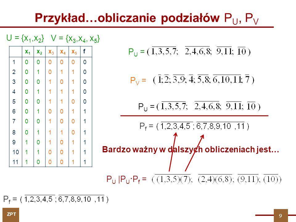 Przykład…obliczanie podziałów PU, PV