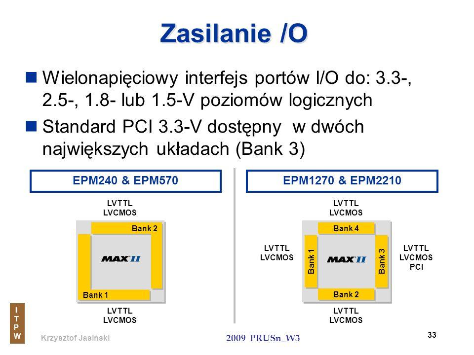 Zasilanie /OWielonapięciowy interfejs portów I/O do: 3.3-, 2.5-, 1.8- lub 1.5-V poziomów logicznych.