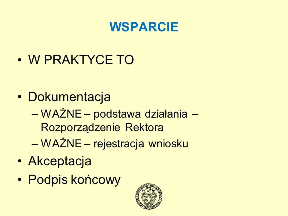 WSPARCIE W PRAKTYCE TO Dokumentacja Akceptacja Podpis końcowy