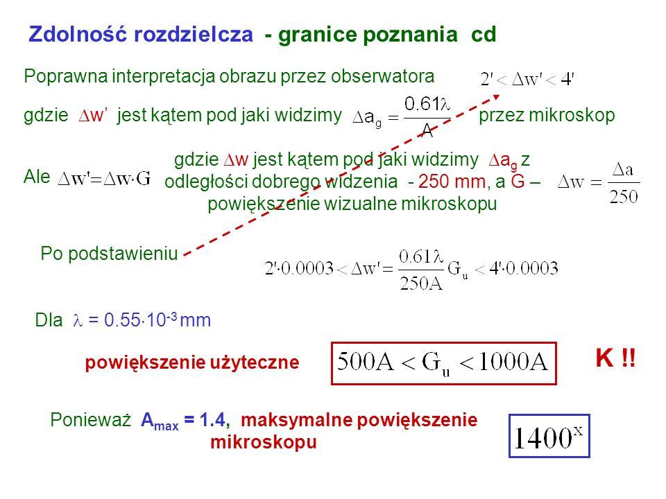 Ponieważ Amax = 1.4, maksymalne powiększenie mikroskopu