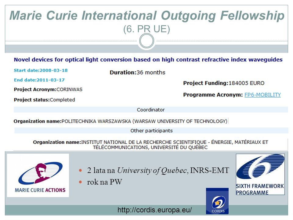Marie Curie International Outgoing Fellowship (6. PR UE)