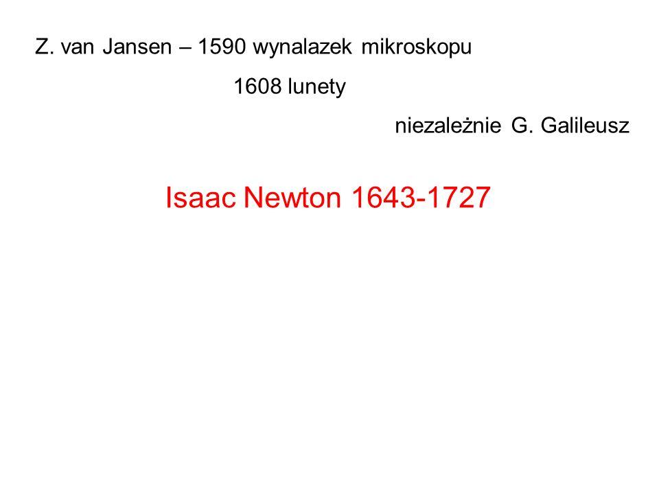 Isaac Newton 1643-1727 Z. van Jansen – 1590 wynalazek mikroskopu