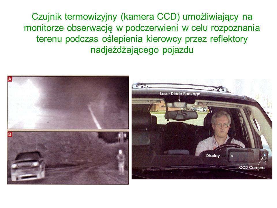 Czujnik termowizyjny (kamera CCD) umożliwiający na monitorze obserwację w podczerwieni w celu rozpoznania terenu podczas oślepienia kierowcy przez reflektory nadjeżdżającego pojazdu