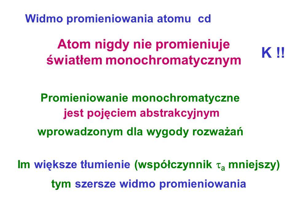Atom nigdy nie promieniuje światłem monochromatycznym