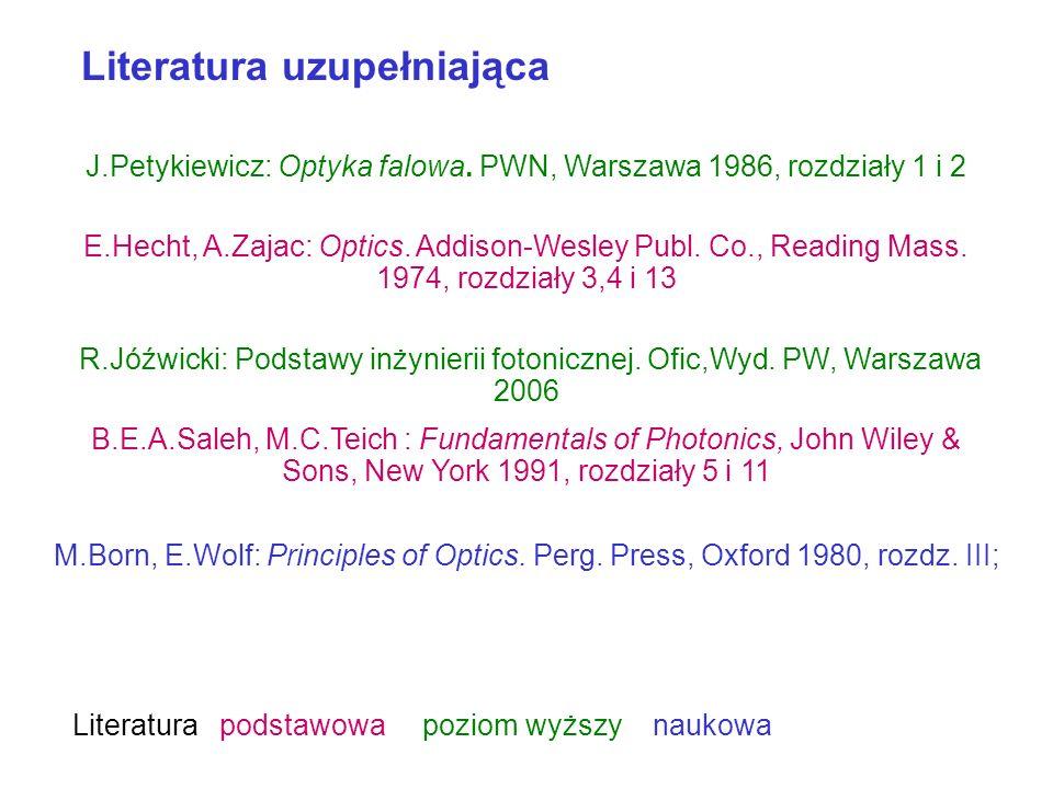 J.Petykiewicz: Optyka falowa. PWN, Warszawa 1986, rozdziały 1 i 2