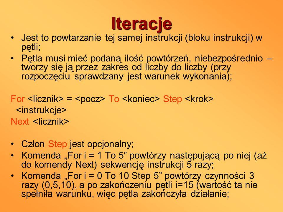 Iteracje Jest to powtarzanie tej samej instrukcji (bloku instrukcji) w pętli;