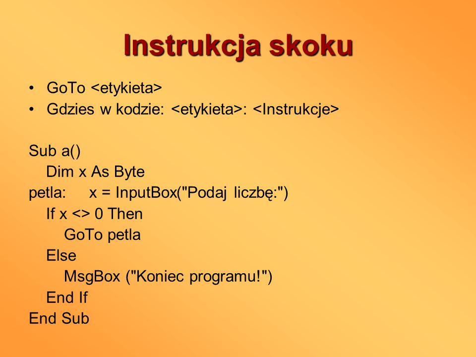 Instrukcja skoku GoTo <etykieta>