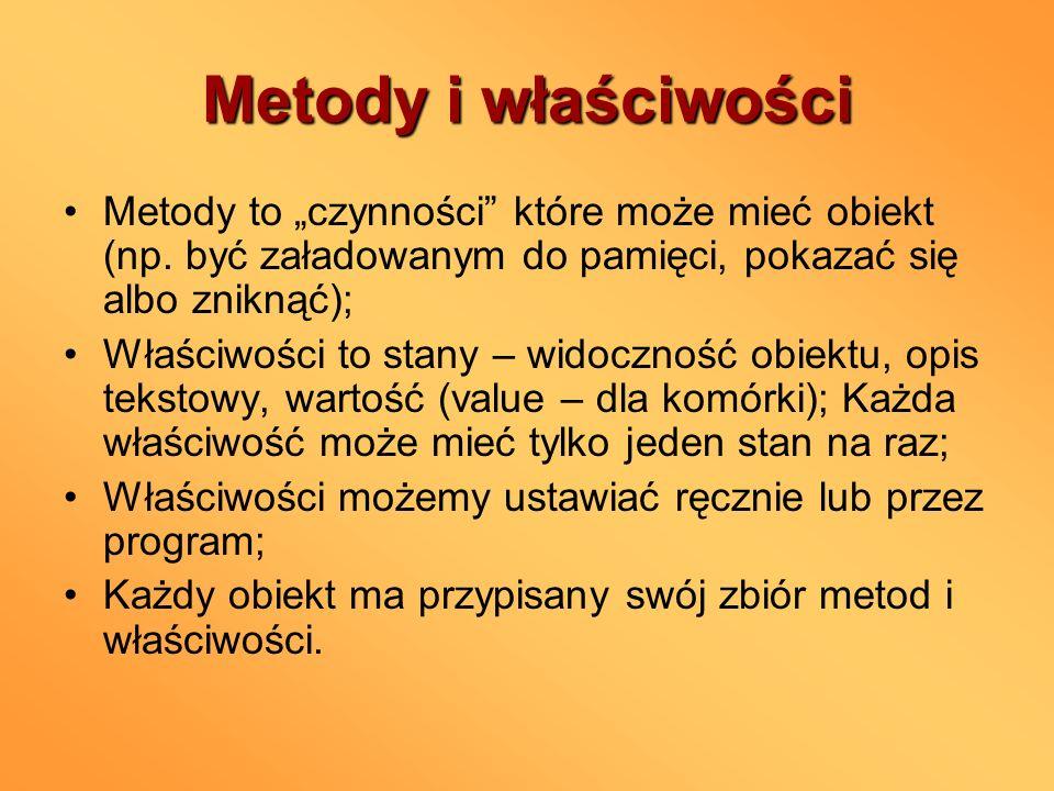 """Metody i właściwości Metody to """"czynności które może mieć obiekt (np. być załadowanym do pamięci, pokazać się albo zniknąć);"""