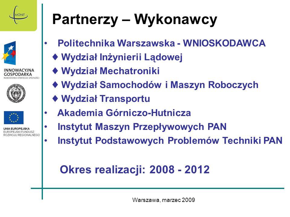 Partnerzy – Wykonawcy Okres realizacji: 2008 - 2012
