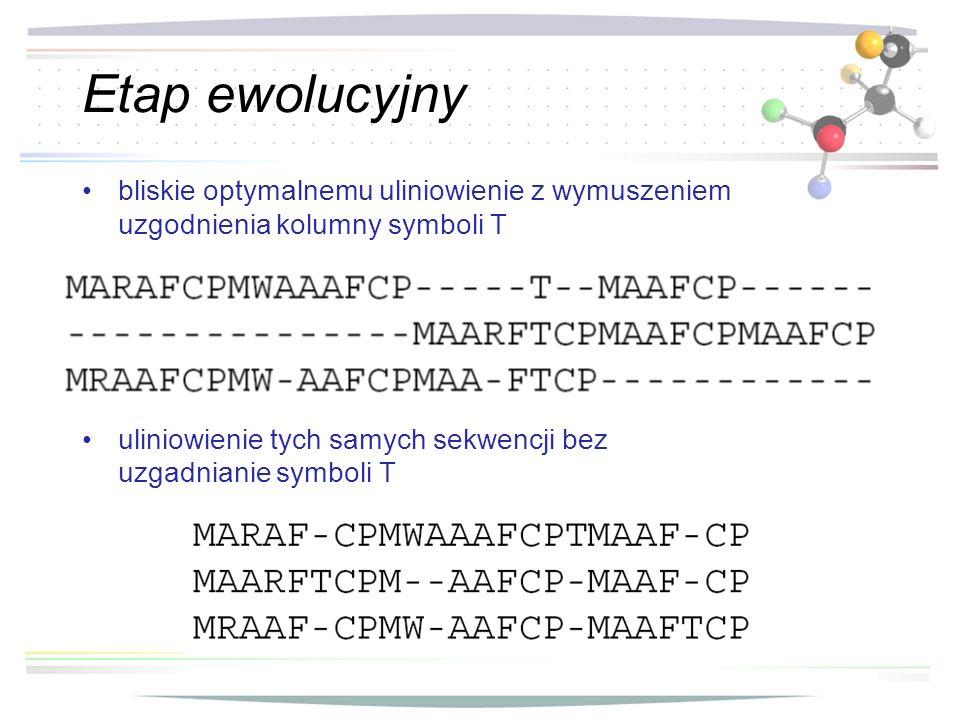 Etap ewolucyjny bliskie optymalnemu uliniowienie z wymuszeniem uzgodnienia kolumny symboli T.