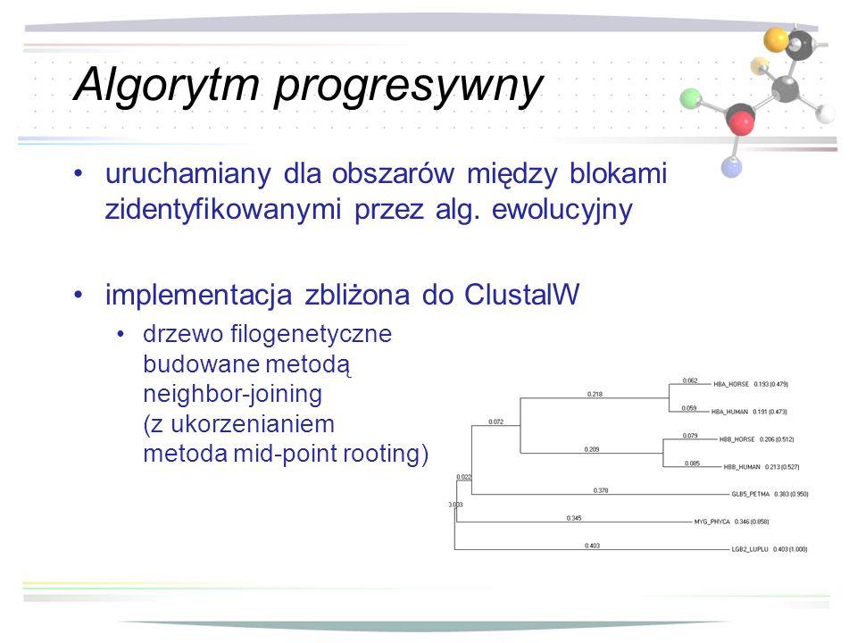 Algorytm progresywny uruchamiany dla obszarów między blokami zidentyfikowanymi przez alg. ewolucyjny.
