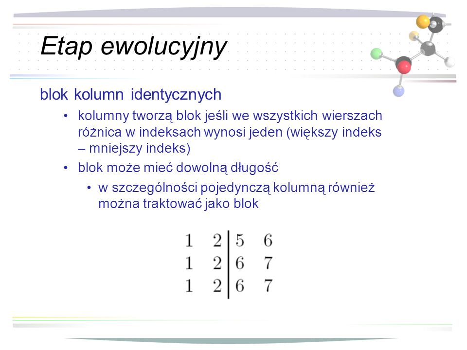 Etap ewolucyjny blok kolumn identycznych