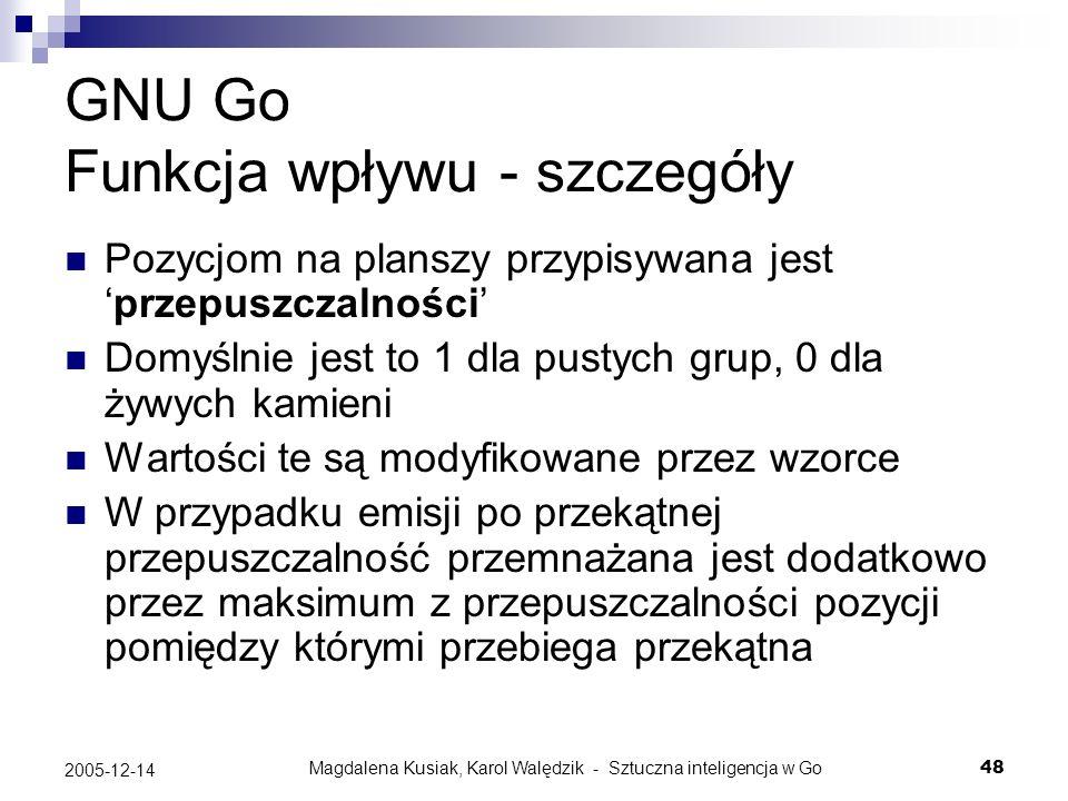 GNU Go Funkcja wpływu - szczegóły