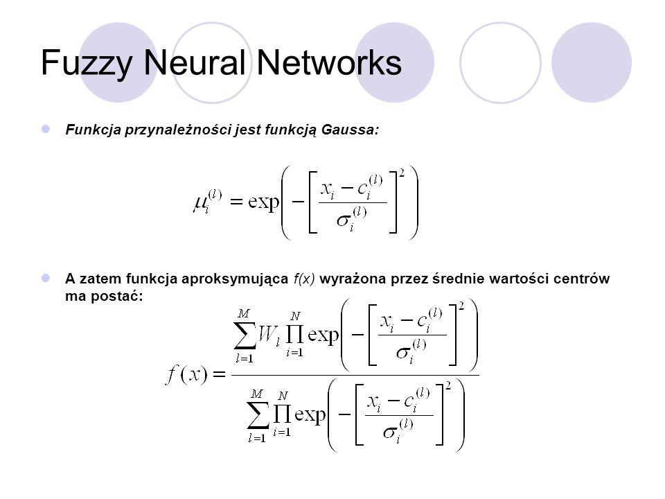 Fuzzy Neural Networks Funkcja przynależności jest funkcją Gaussa:
