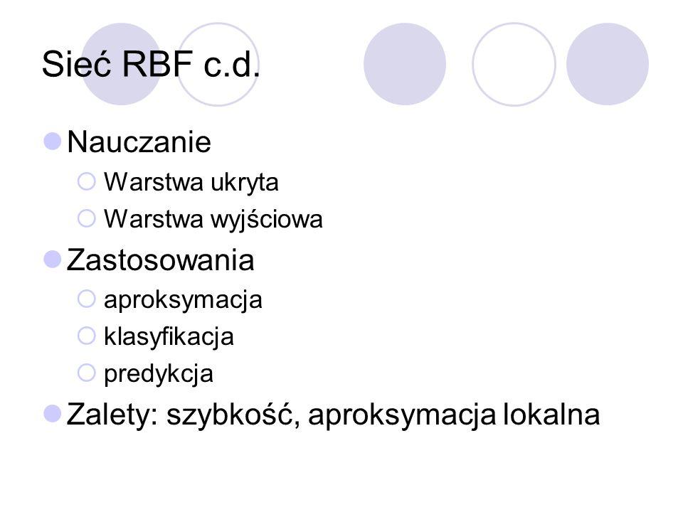 Sieć RBF c.d. Nauczanie Zastosowania