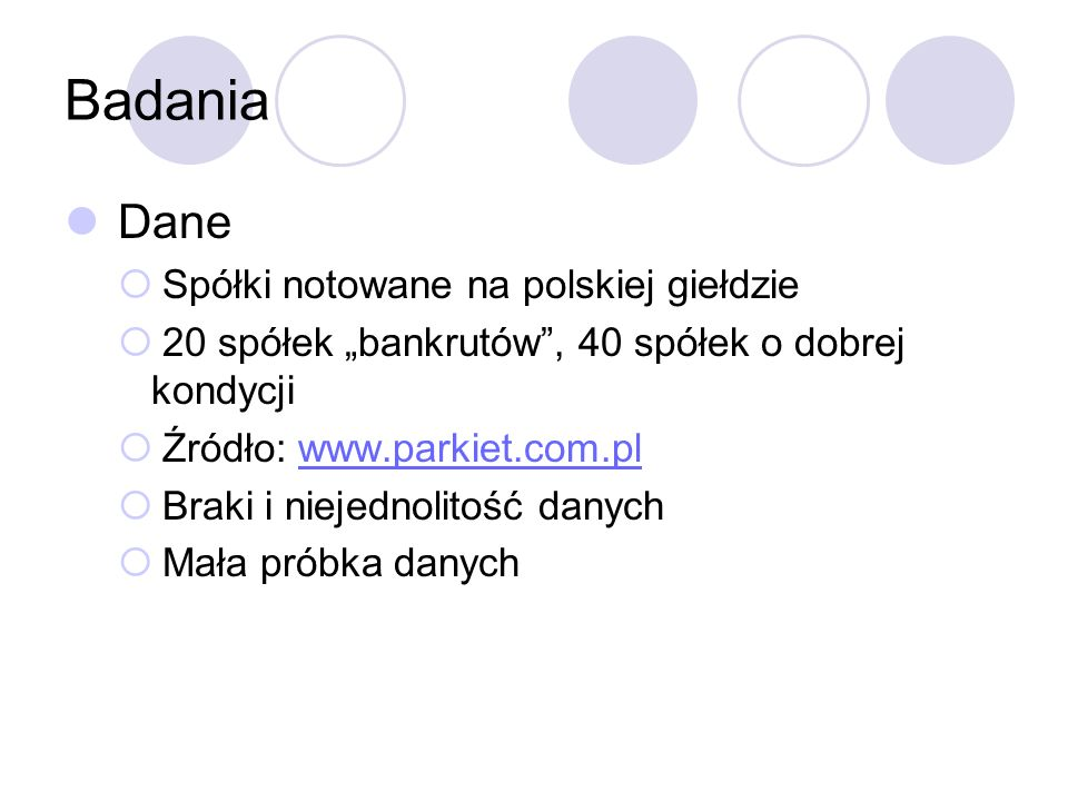 Badania Dane Spółki notowane na polskiej giełdzie