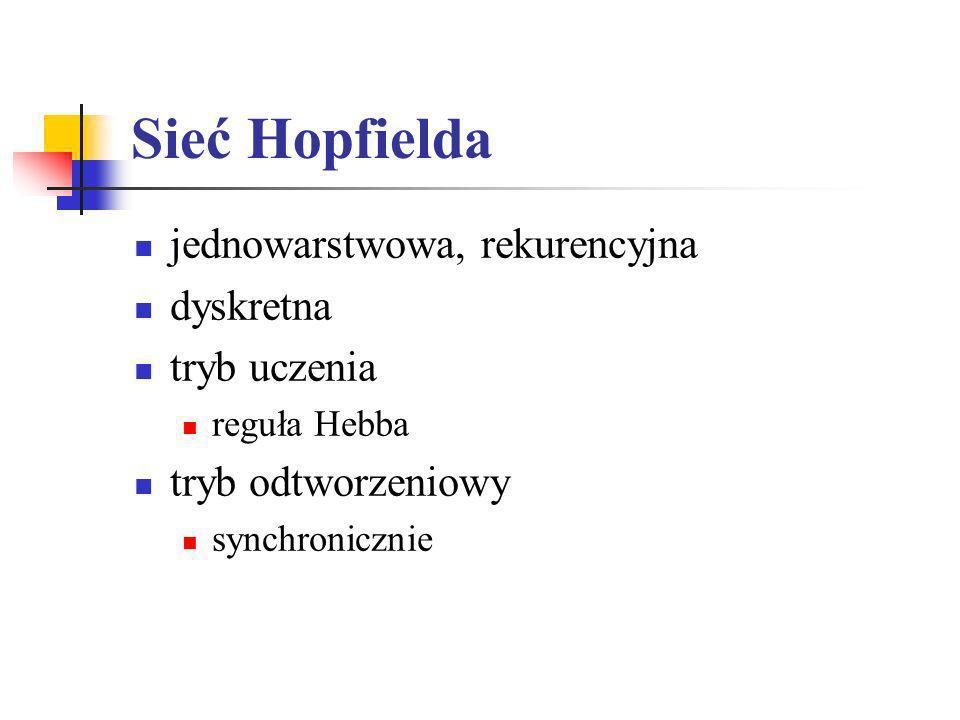 Sieć Hopfielda jednowarstwowa, rekurencyjna dyskretna tryb uczenia