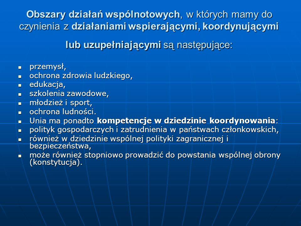 Obszary działań wspólnotowych, w których mamy do czynienia z działaniami wspierającymi, koordynującymi lub uzupełniającymi są następujące:
