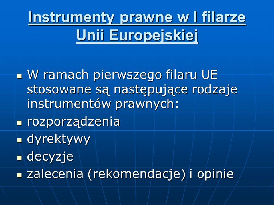 Instrumenty prawne w I filarze Unii Europejskiej