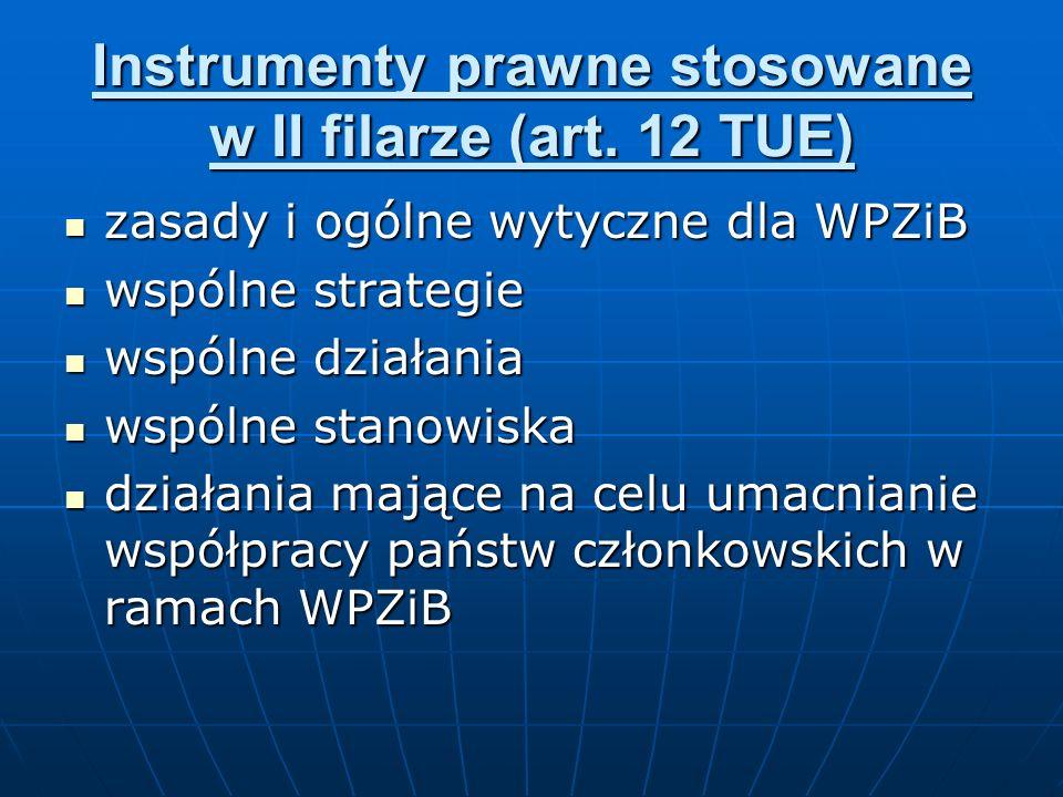 Instrumenty prawne stosowane w II filarze (art. 12 TUE)