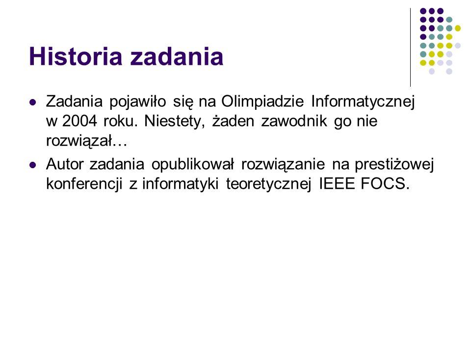Historia zadania Zadania pojawiło się na Olimpiadzie Informatycznej w 2004 roku. Niestety, żaden zawodnik go nie rozwiązał…