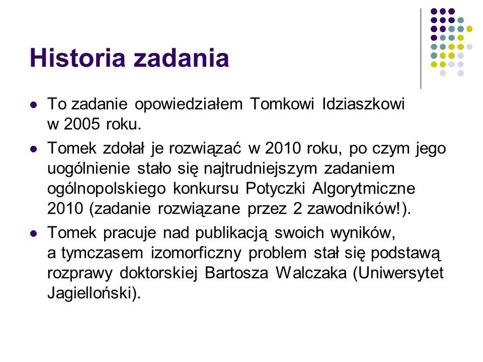 Historia zadania To zadanie opowiedziałem Tomkowi Idziaszkowi w 2005 roku.
