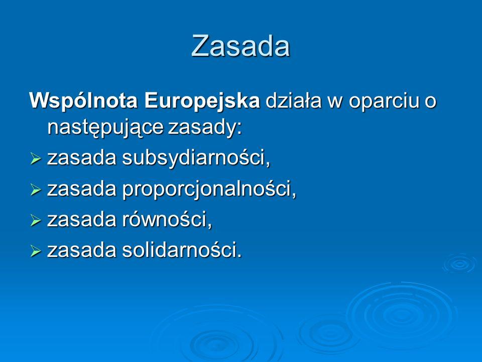Zasada Wspólnota Europejska działa w oparciu o następujące zasady: