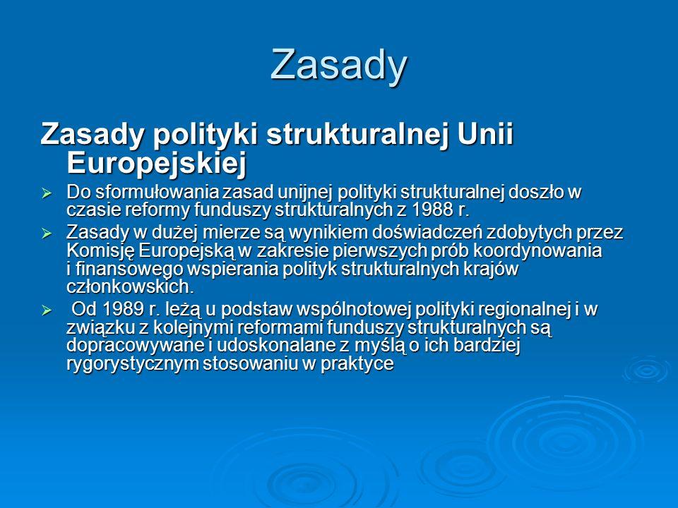 Zasady Zasady polityki strukturalnej Unii Europejskiej
