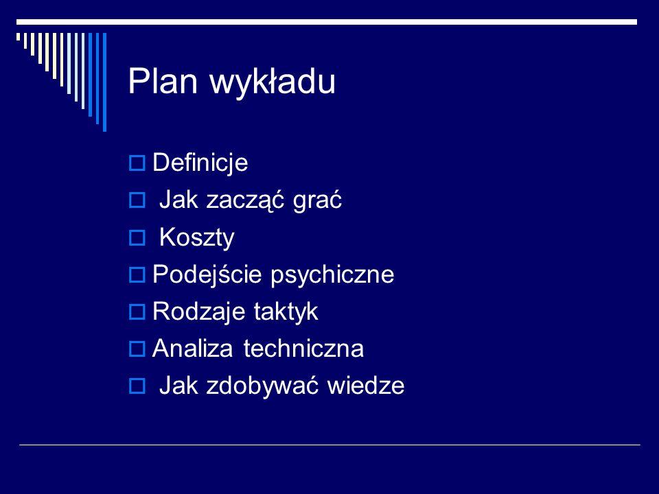 Plan wykładu Definicje Jak zacząć grać Koszty Podejście psychiczne
