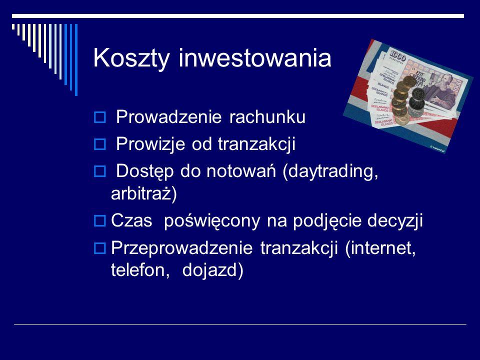 Koszty inwestowania Prowadzenie rachunku Prowizje od tranzakcji