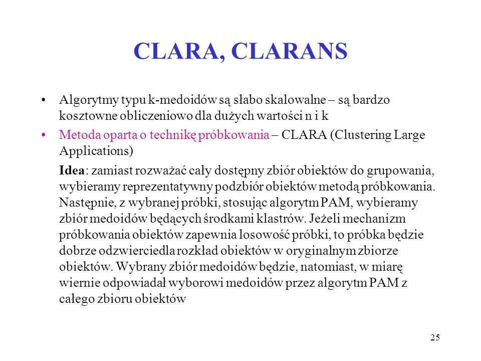 CLARA, CLARANS Algorytmy typu k-medoidów są słabo skalowalne – są bardzo kosztowne obliczeniowo dla dużych wartości n i k.