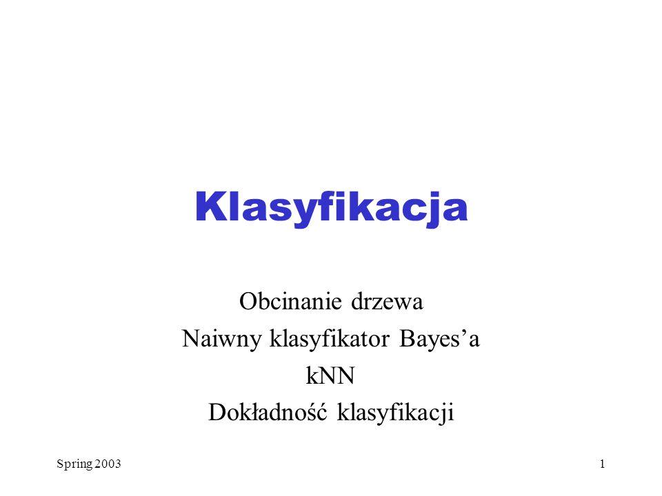 Klasyfikacja Obcinanie drzewa Naiwny klasyfikator Bayes'a kNN