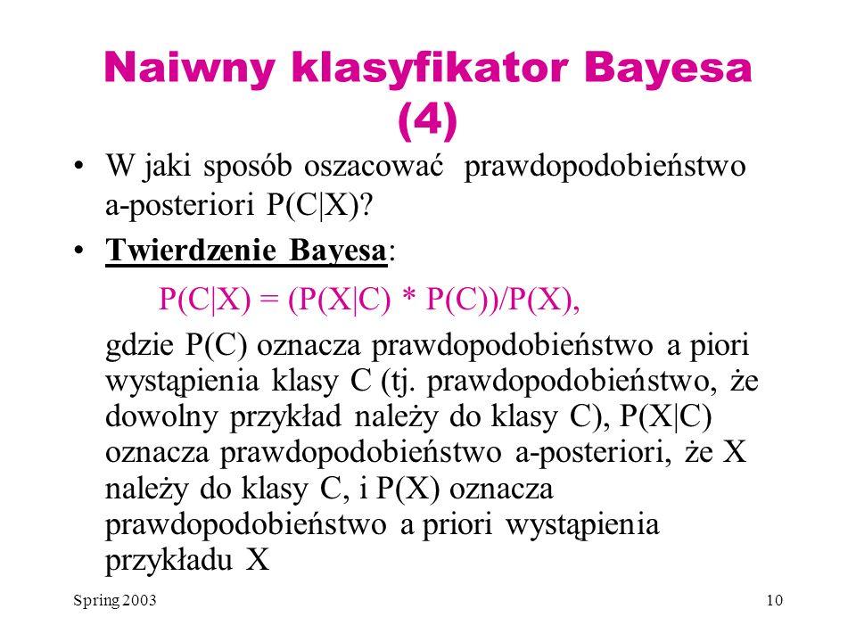 Naiwny klasyfikator Bayesa (4)