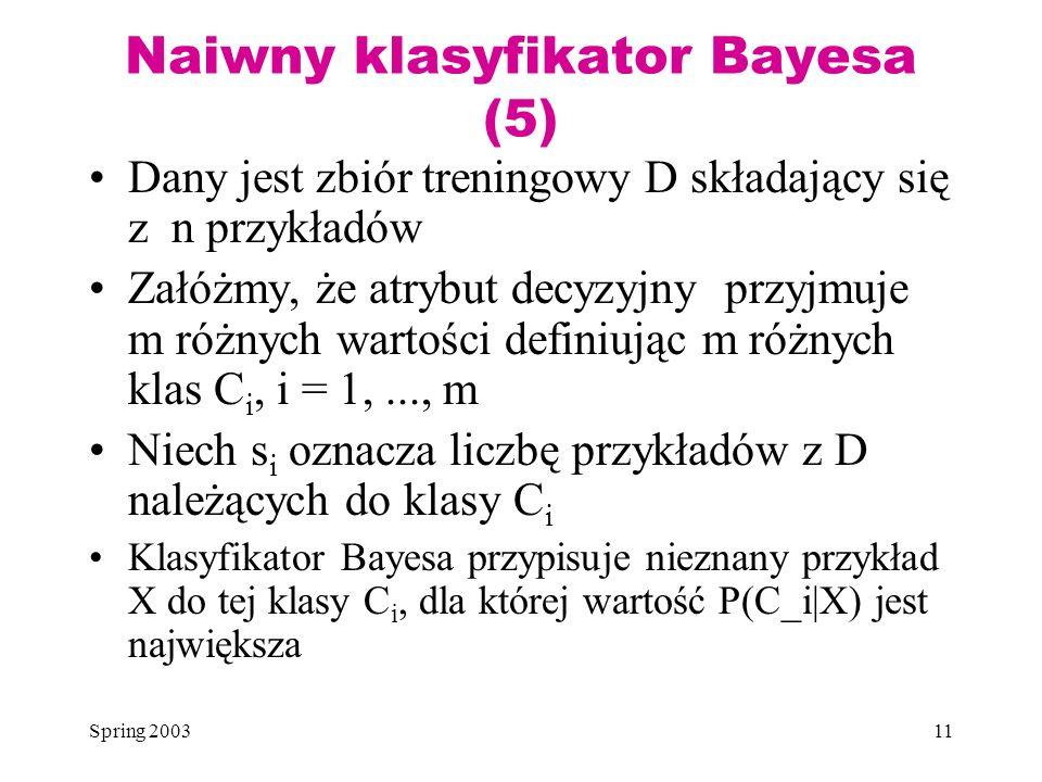 Naiwny klasyfikator Bayesa (5)