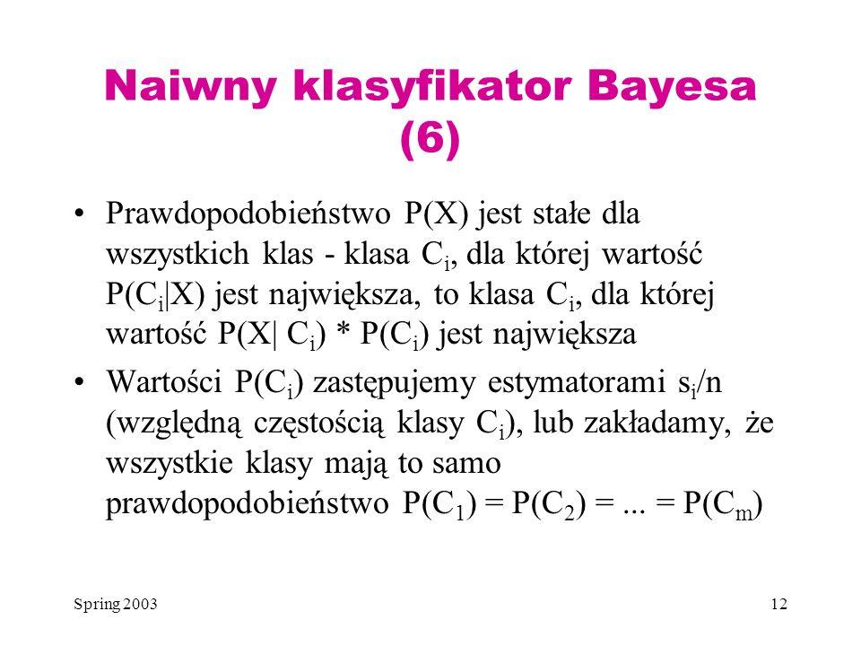 Naiwny klasyfikator Bayesa (6)