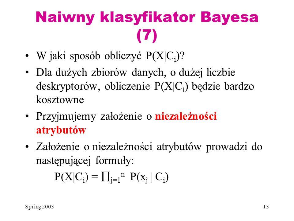 Naiwny klasyfikator Bayesa (7)