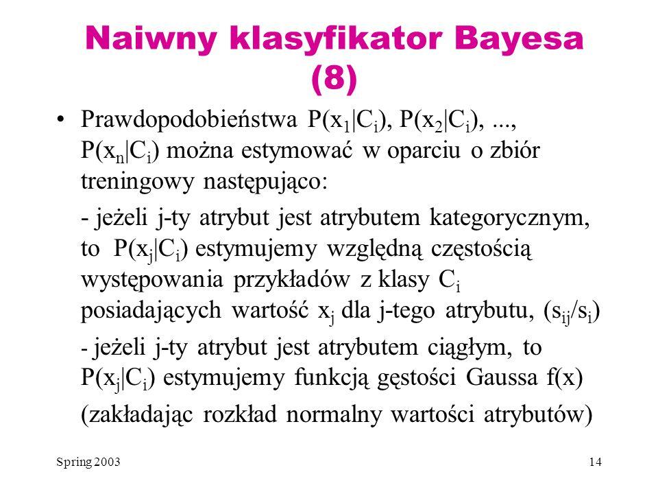 Naiwny klasyfikator Bayesa (8)