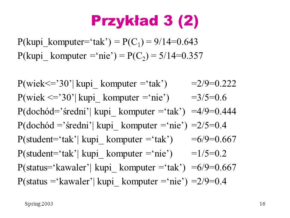 Przykład 3 (2) P(kupi_komputer='tak') = P(C1) = 9/14=0.643