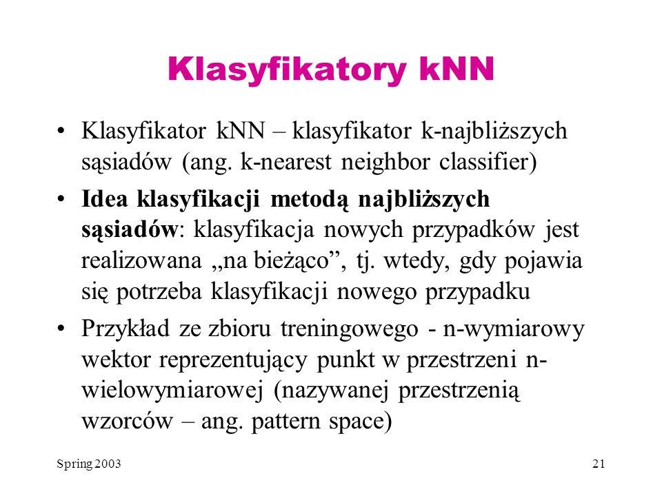 Klasyfikatory kNN Klasyfikator kNN – klasyfikator k-najbliższych sąsiadów (ang. k-nearest neighbor classifier)