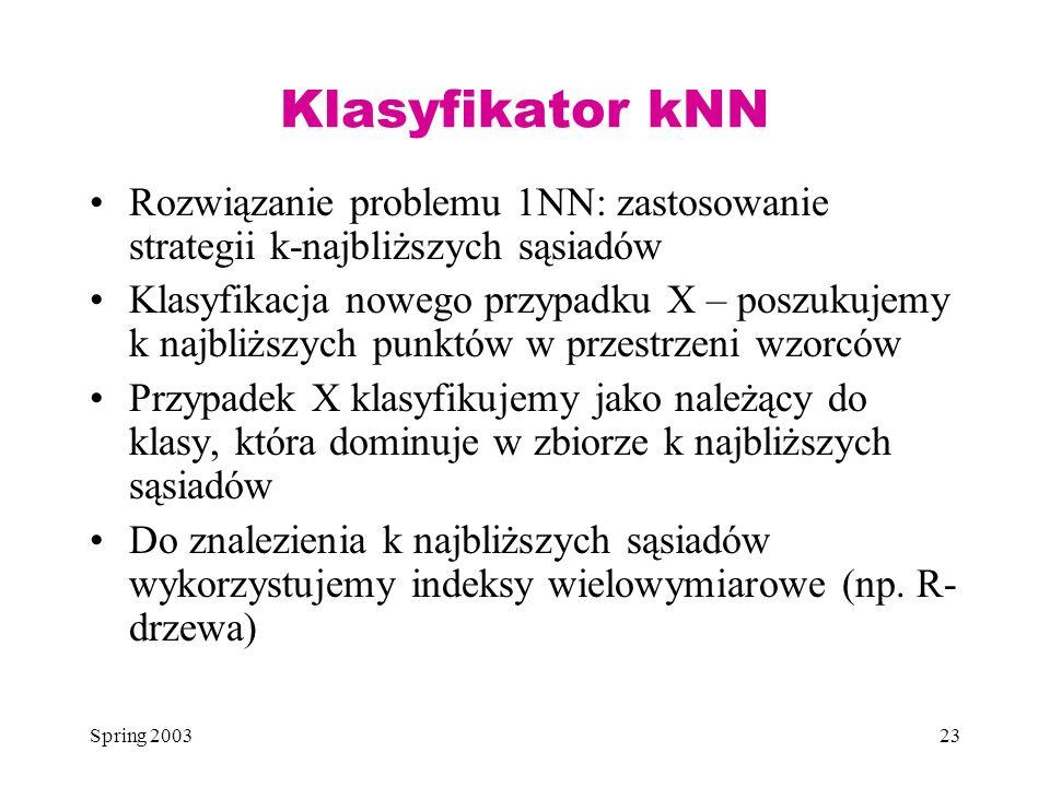 Klasyfikator kNN Rozwiązanie problemu 1NN: zastosowanie strategii k-najbliższych sąsiadów.