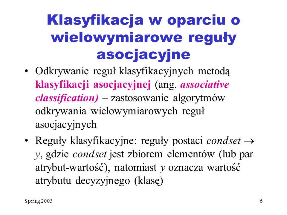 Klasyfikacja w oparciu o wielowymiarowe reguły asocjacyjne