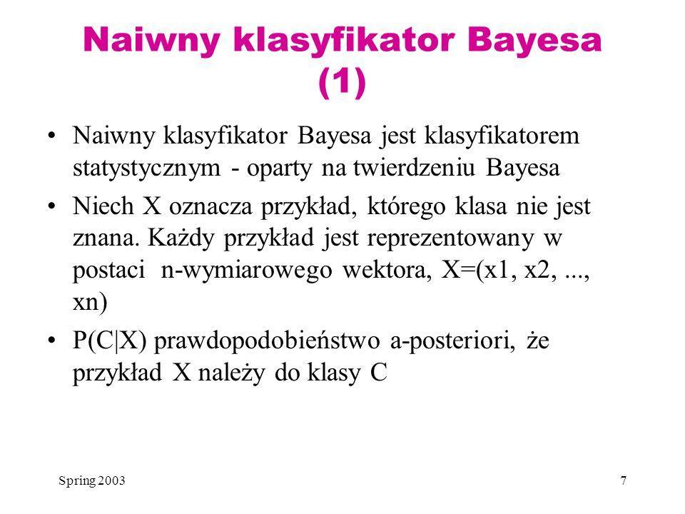 Naiwny klasyfikator Bayesa (1)