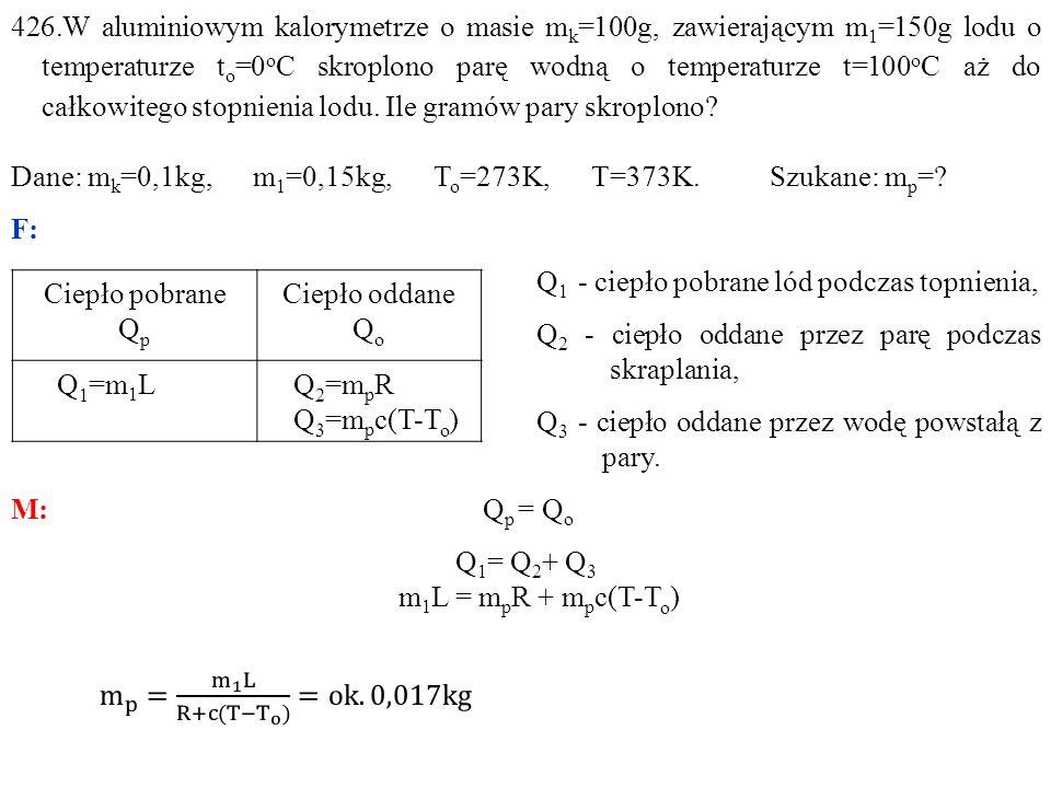 426.W aluminiowym kalorymetrze o masie mk=100g, zawierającym m1=150g lodu o temperaturze to=0oC skroplono parę wodną o temperaturze t=100oC aż do całkowitego stopnienia lodu. Ile gramów pary skroplono