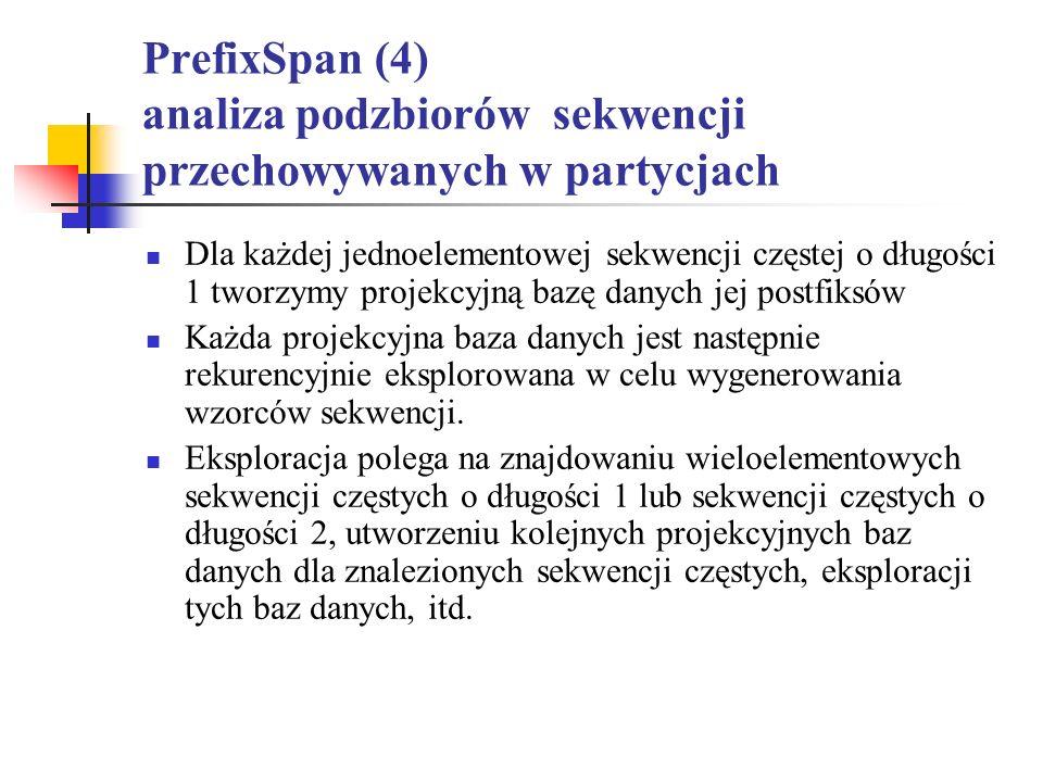 PrefixSpan (4) analiza podzbiorów sekwencji przechowywanych w partycjach
